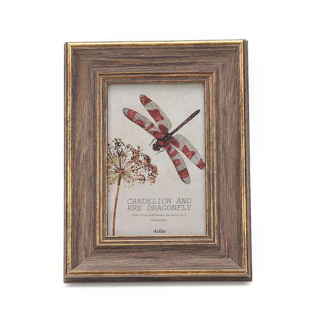 4x6 Inches Vintage Feel Rustic Picture Frame For Tabletop or Wall Hanging with Glass Front (4x6, Brown)