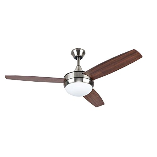 Beach Creek 44-in Brushed Nickel Downrod or Close Mount Indoor Residential Ceiling Fan with LED Light Kit with Remote (3-Blade)