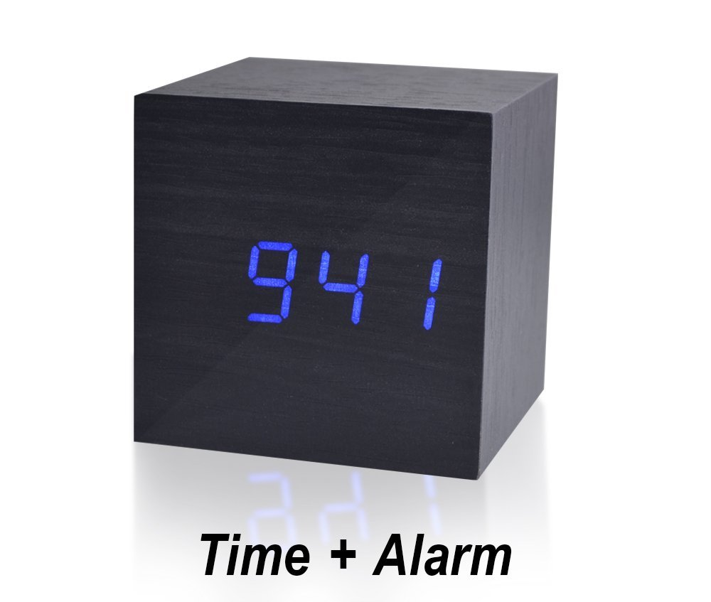 Beautys 101 Wooden Digital Alarm Clock- Premium Multifunction Electronic LED Digital Alarm Clock For Bedroom, Kids' Room & Travel- Modern, Stylish & Reliable Alarm Clock (Blue Light - Black Wood)