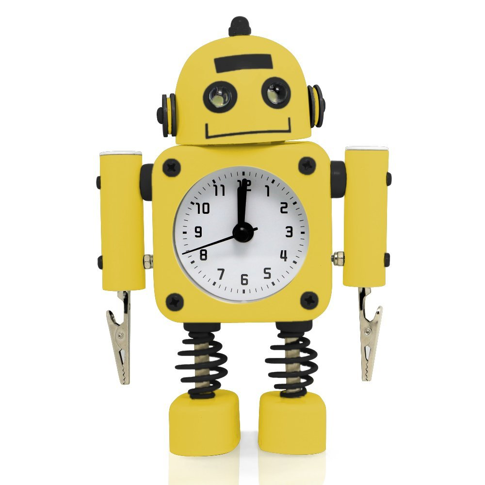 "Betus [Non-ticking] Robot Alarm Clock Stainless Metal - Wake-up Clock with Flashing Eye Lights and Hand Clip - 4.5"" x 6.5"" x 2"" (Yellow)"