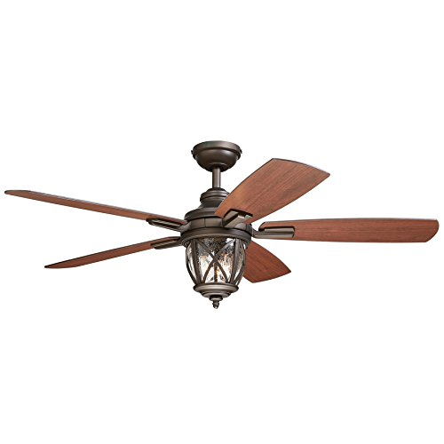Castine 52-in Rubbed Bronze Downrod or Close Mount Indoor/Outdoor Ceiling Fan with Light Kit and Remote