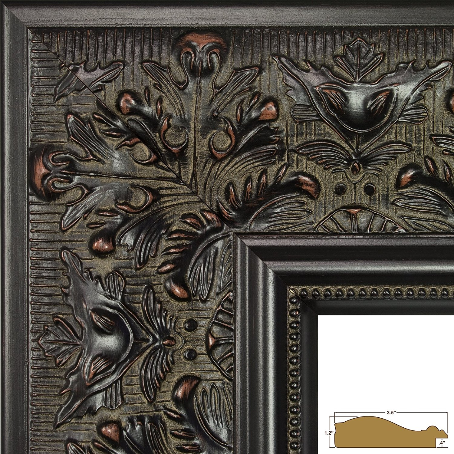 Craig Frames Borromini, 8.5 by 11-Inch Ornate Picture Frame, Black Walnut