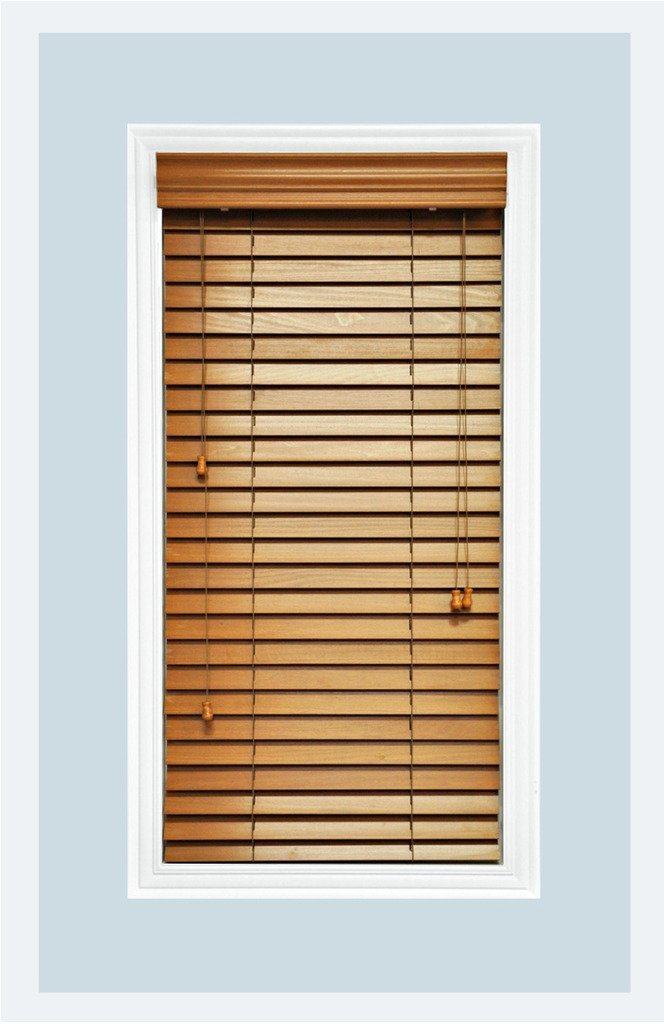 "Custom-Made, Premium Real Wood Horizontal Window Blinds, 2"" Slats, Golden Oak, Inside Mount"