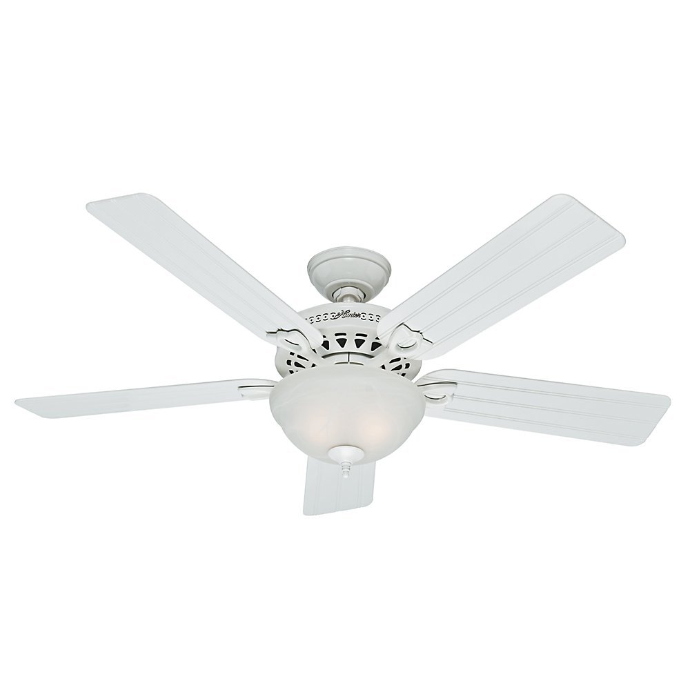 Hunter 53122 Beachcomber 52-Inch White Ceiling Fan with Five White Beadboard Blades and Light Kit