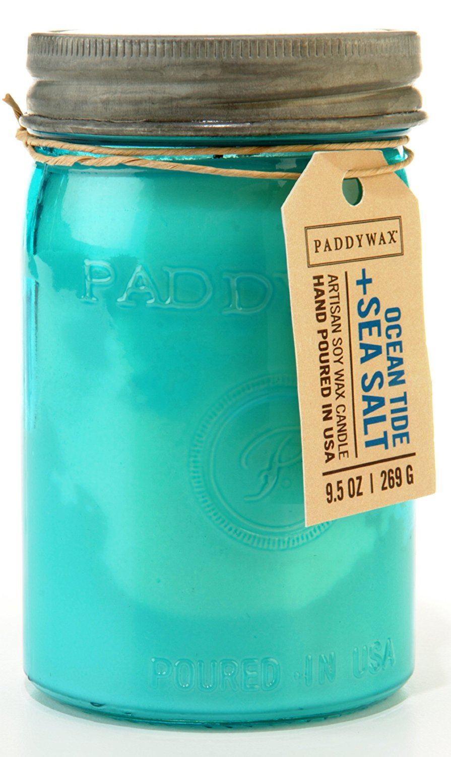 Paddywax Candles Relish Jar Collection Candle, 9.5-Ounce, Aqua Ocean Tide and Sea Salt
