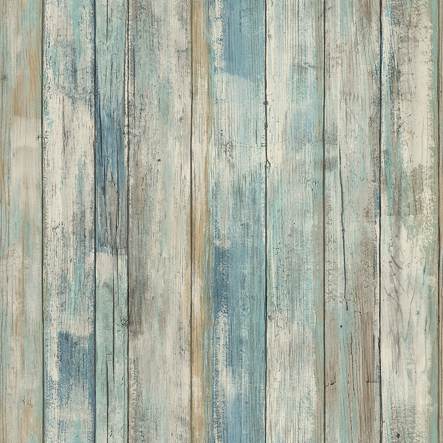 RoomMates RMK9052WP Blue Distressed Wood Peel and Stick Wallpaper Décor