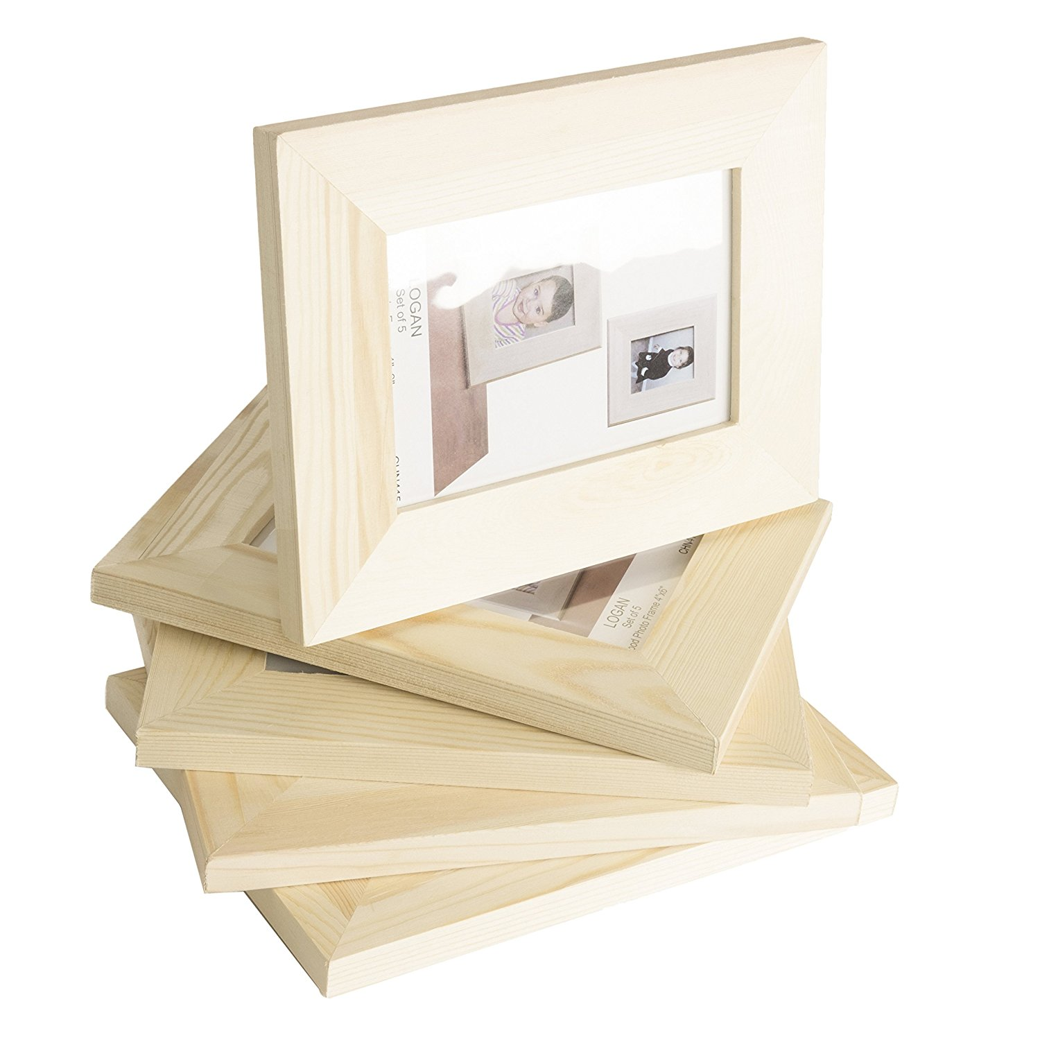 Solid DIY Unfinished Wood Picture Frame 4x6 Inches , Great for Kid's Art Craft Projects Set of 5