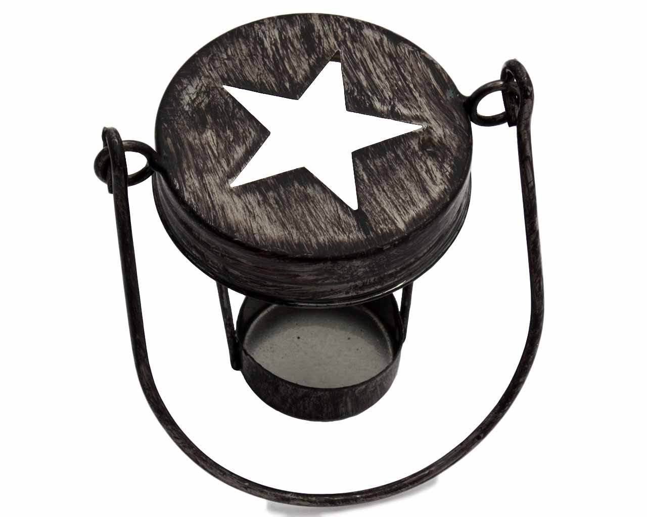 Star Cutout Tea Light Candle Holder Lids for Regular Mouth Mason Jars (3 Pack, Antique Black with Handle)
