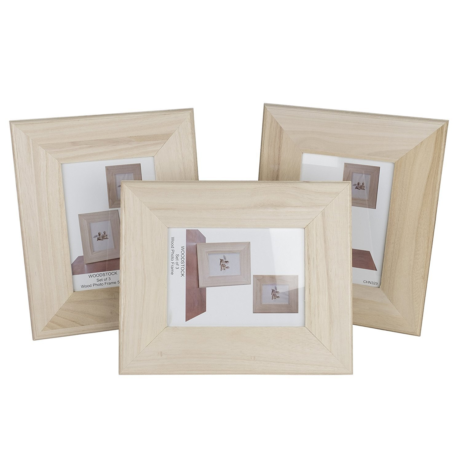 Unfinished Solid Wood Photo Picture Frames Ready To Paint for DIY Projects 4 by 6 Inches Set of 3