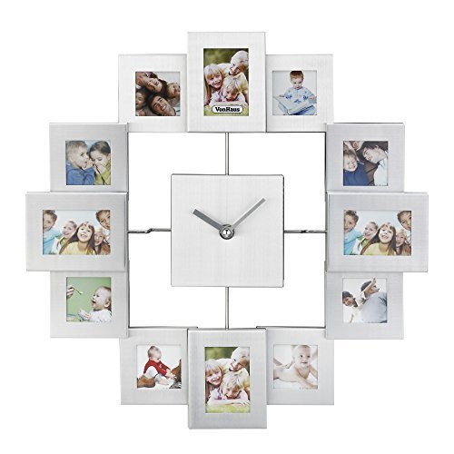 VonHaus 12 Picture Aluminum Decorative Photo Frame Wall Clock Silver