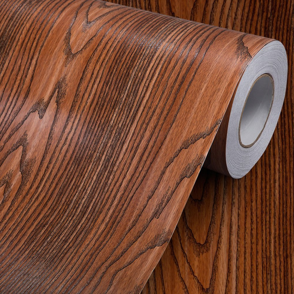 "Wood Grain Contact Paper Self Adhesive Vinyl Shelf Liner Covering for Kitchen Countertop Cabinets Drawer Furniture Wall Decal (23.4""Wx117""L, Rosewood)"