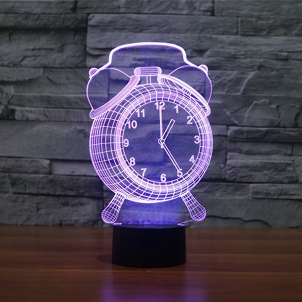 ZTOP 3D Optical Illusion Night Light Clock 7 Color Changing LED Touch Desk Lamp Alarm Clock Baby Children Kids Room Bedroom Table Lamp