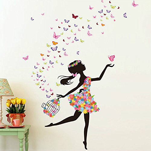51 x 68 Inch Butterfly DIY Wall Sticker Decor Fairy Flower Girl Wall Decal Art Vintage Wall Decals for Kids Wedding Room Home Bedroom Living Room Decoration
