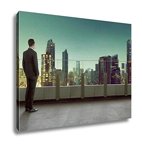 Ashley Canvas Businessman Standing On A Roof And Looking At City Wall Art Decor Stretched Gallery Wrap Giclee Print Ready to Hang Kitchen living room home office, 24x30