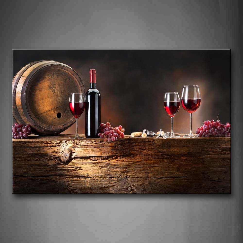 Brown Wine With Grapes And Barrel. Wall Art Painting The Picture Print On Canvas Food Pictures For Home Decor Decoration Gift