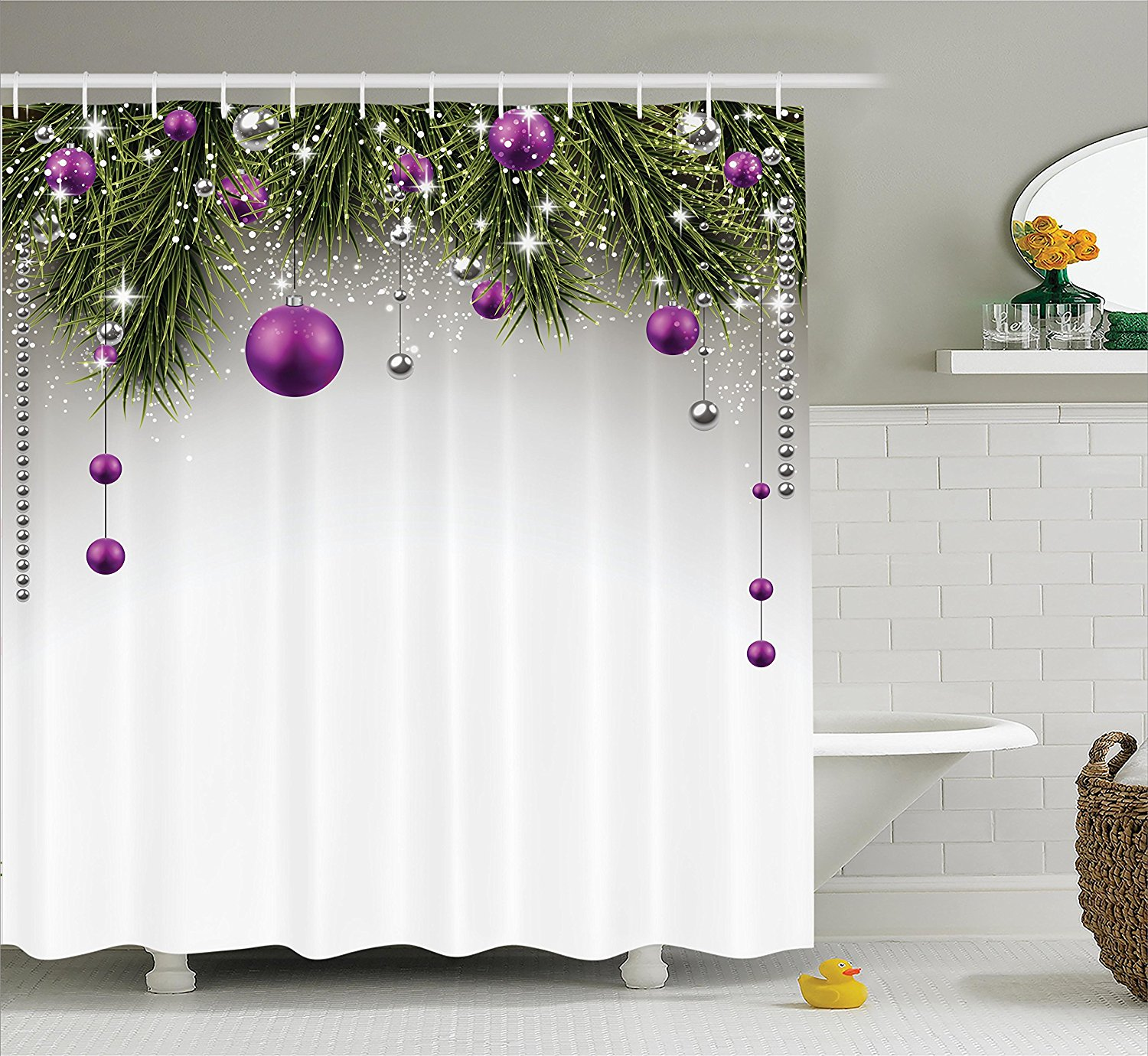 Christmas Shower Curtain Christmas Decorations by Ambesonne