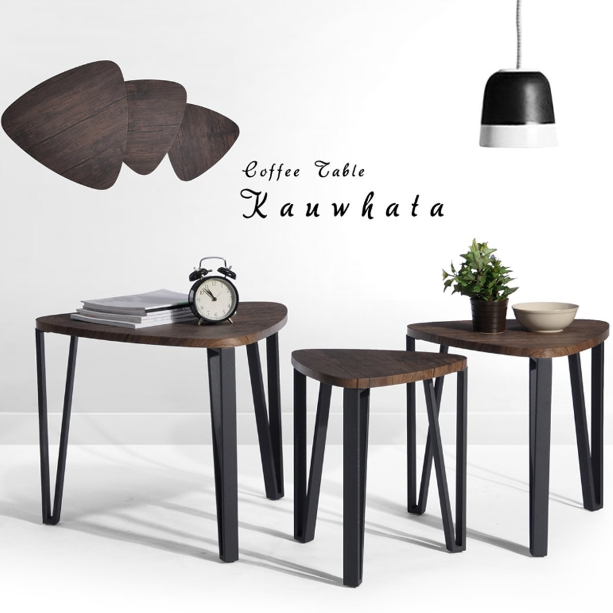 Coffee Table Set of 3 End Side Table Nesting Corner Table Stacking Tea Table Brown Modern Leisure Wood Table With Metal Tube For Living Room Waiting Room Balcony and Office