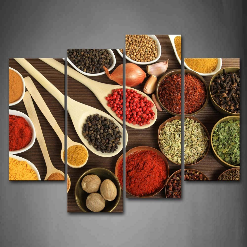 Couful Spice In Spoon Gather Together In Table Both Power Granulate And Slice Pices Wall Art Painting The Picture Print On Canvas Food Pictures For Home Decor Decoration Gift