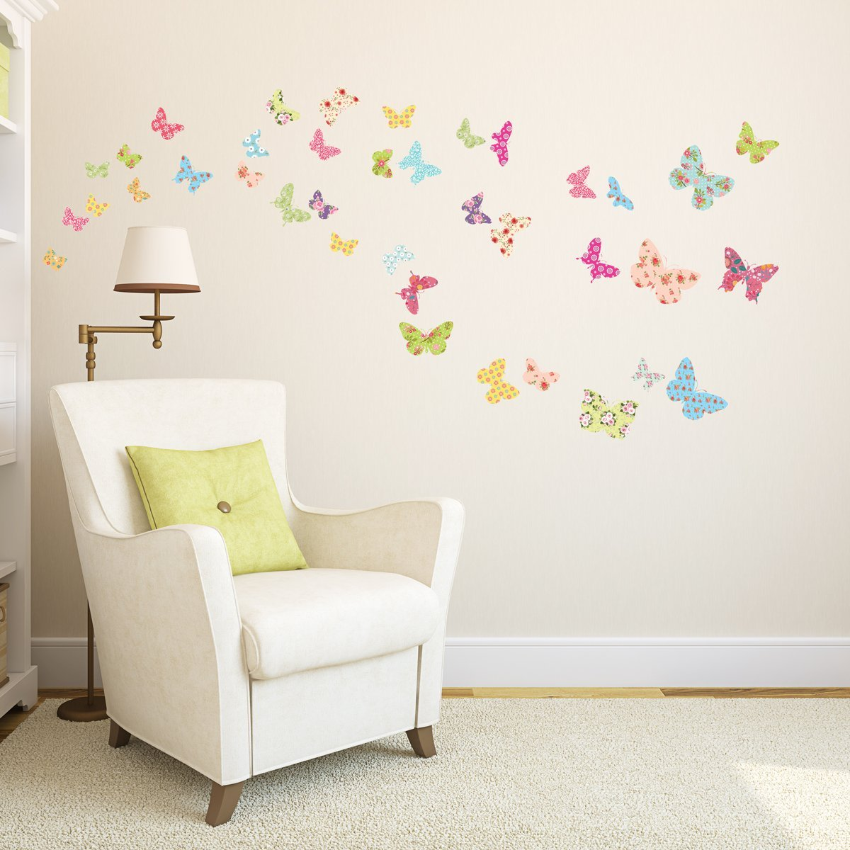 Decowall DW-1408 Patterned Butterflies Kids Wall Decals Wall Stickers Peel and Stick Removable Wall Stickers for Kids Nursery Bedroom...