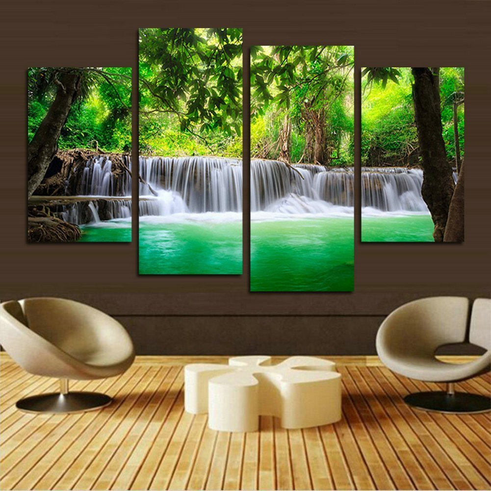 H.COZY 4 unit green waterfall HD pictures of modern art print canvas painting the living room wall decoration (No frame) far73 48x28 inch
