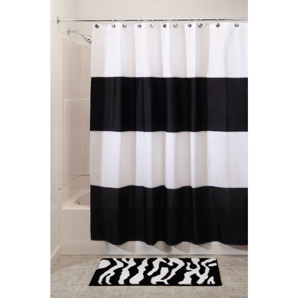 Interdesign Zeno Waterproof Shower Curtain, Black and White, 72 Inches X 72 Inches