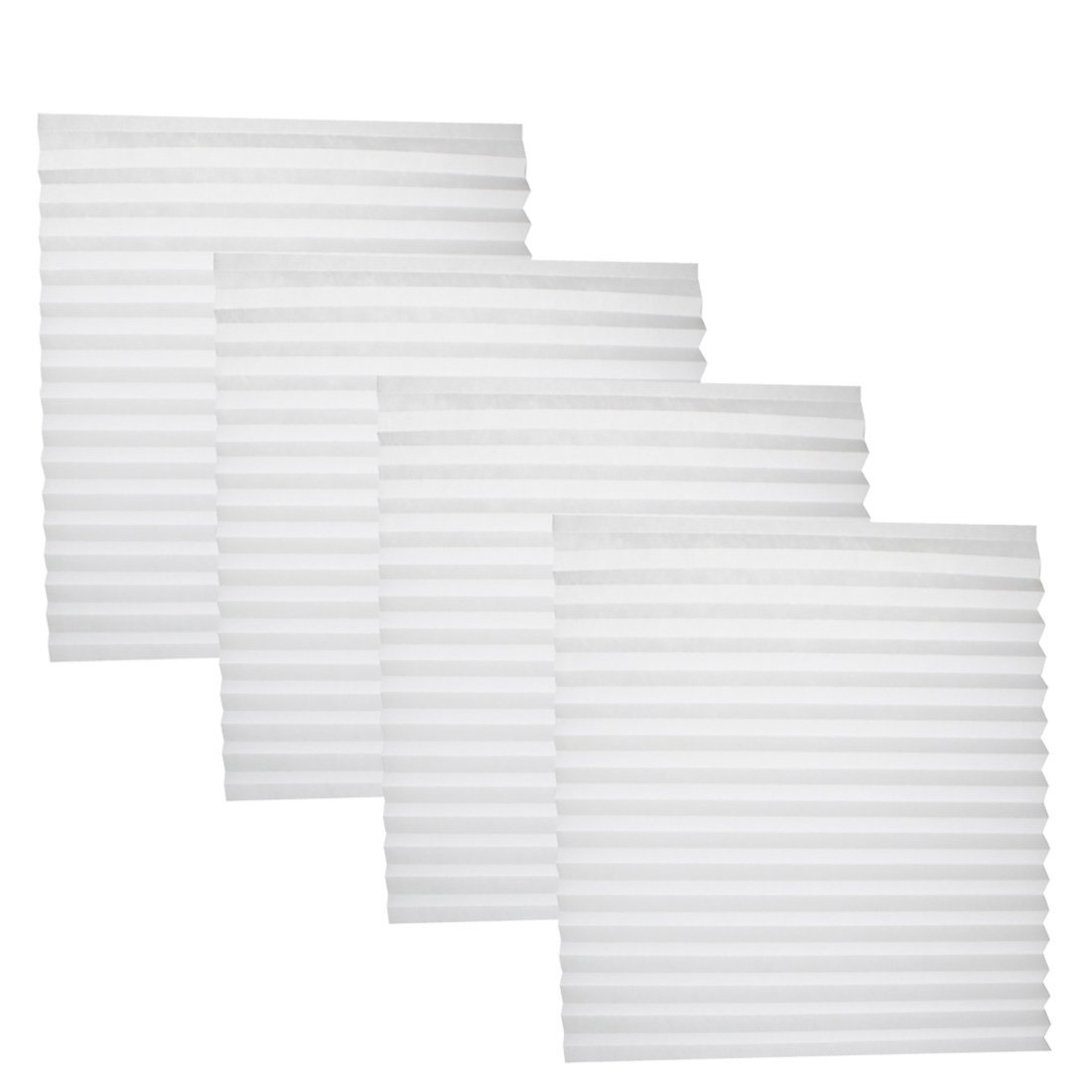 "JET-BOND JJ25 Pleated Paper Blind Shade Shutters White Free Stainless Steel Clips 74.8"" Long 35.4"" Wide (white, 4 PCS)"