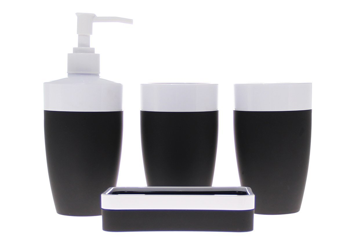 JustNile Royal Plastic and Rubber 4-Piece Bathroom Accessory Set; Includes 2 cups, 1 Soap Dispenser and 1 Soap Dish - Black and White