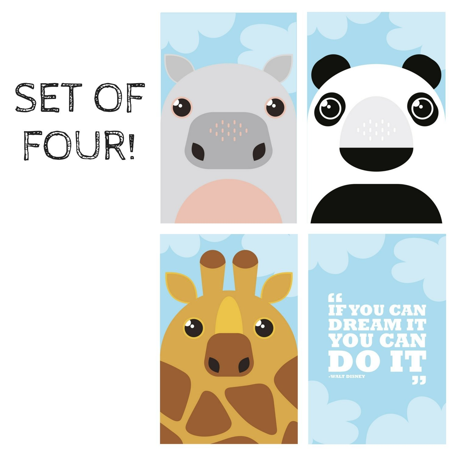 KIDS POSTERS for BEDROOM DECOR: Animal Prints For Children, Set of FOUR 11X17 Posters, Animals Wall Hangings For Nursery, Wall Decals For Baby Room. By Pillow & Toast.