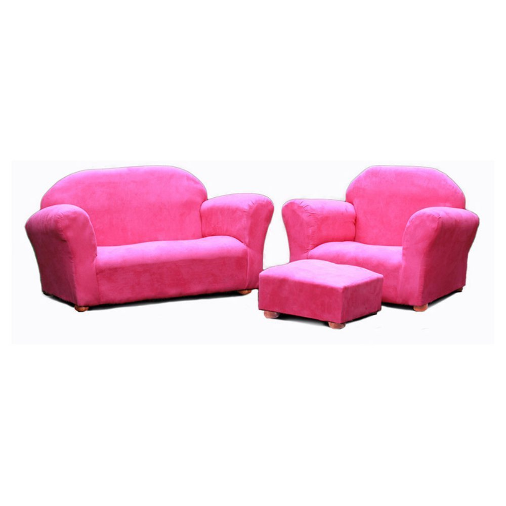 Keet Roundy Microsuede Children's Chair, Sofa and Ottoman Set, Hot Pink