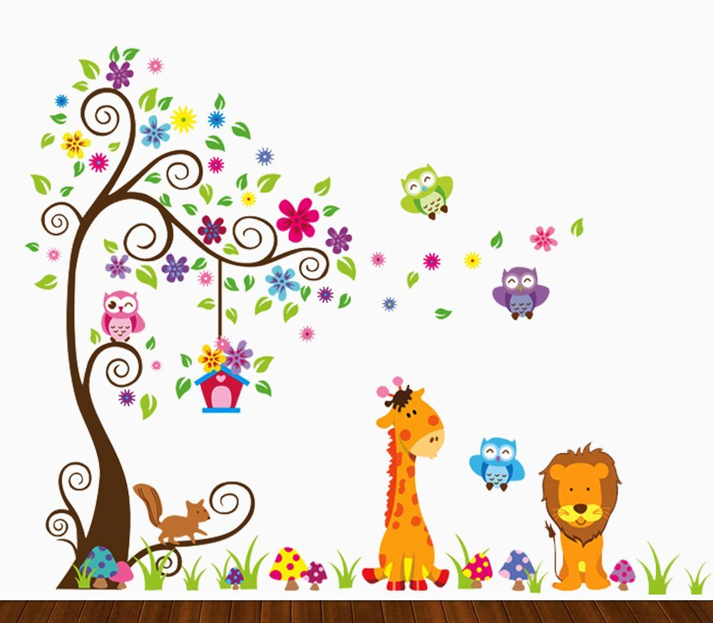 "Kids Jungle Theme Peel & Stick Wall Decal 35"" - Colorful Owl Giraffe Lion Tree Decorative Unisex Wall Sticker for Children Bedroom, Nursery, Playroom Mural by Dekosh"