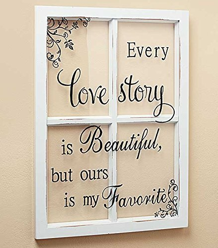 LOVE STORY White Wooden Window Pane Frame Sentiment Decor Shabby Chic Cottage Wall Hanging Inspirational Home Accent Plaque Decoration