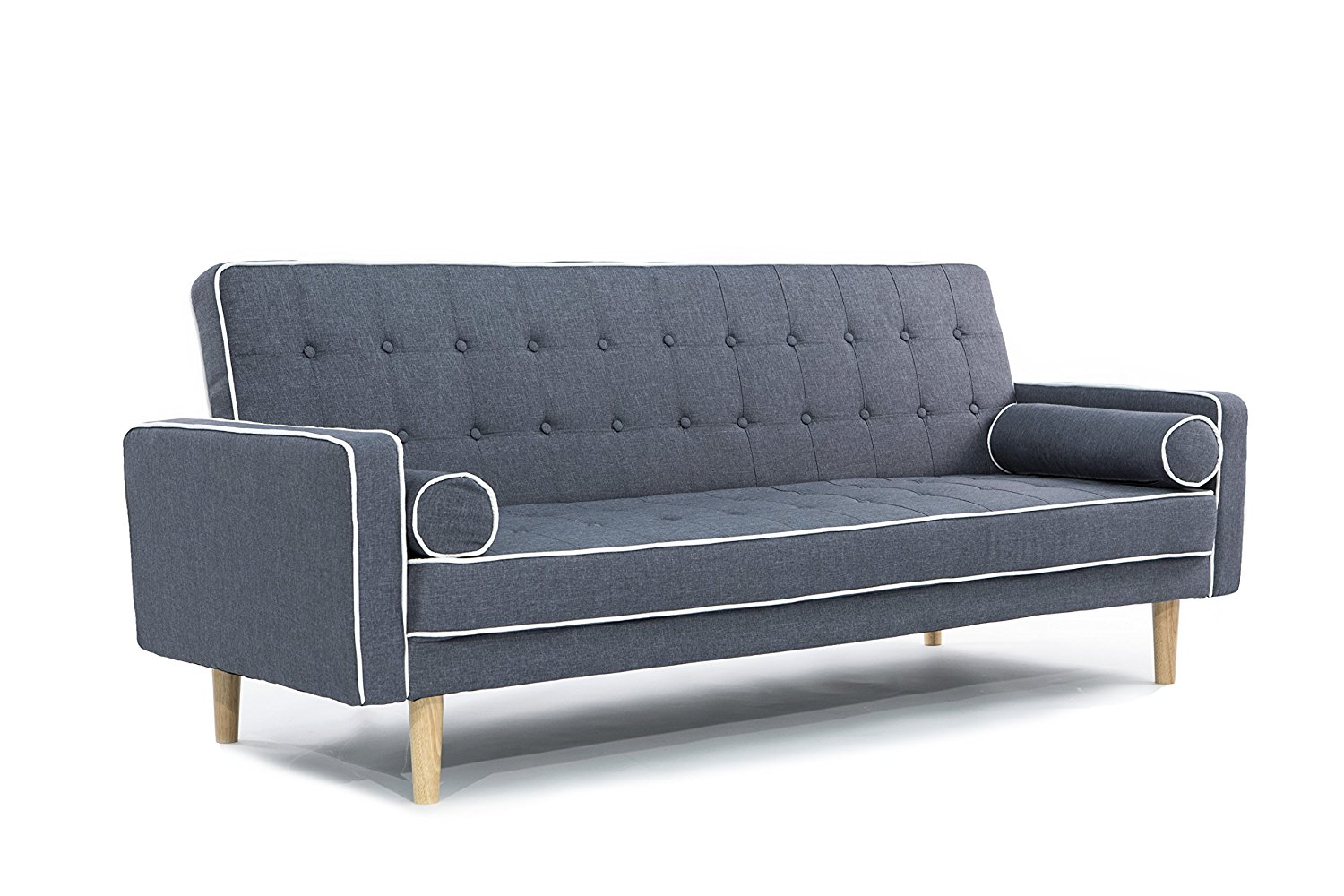 Mid-Century Modern Two Tone Vintage Linen Sleeper Futon Sofa (Dark Grey)