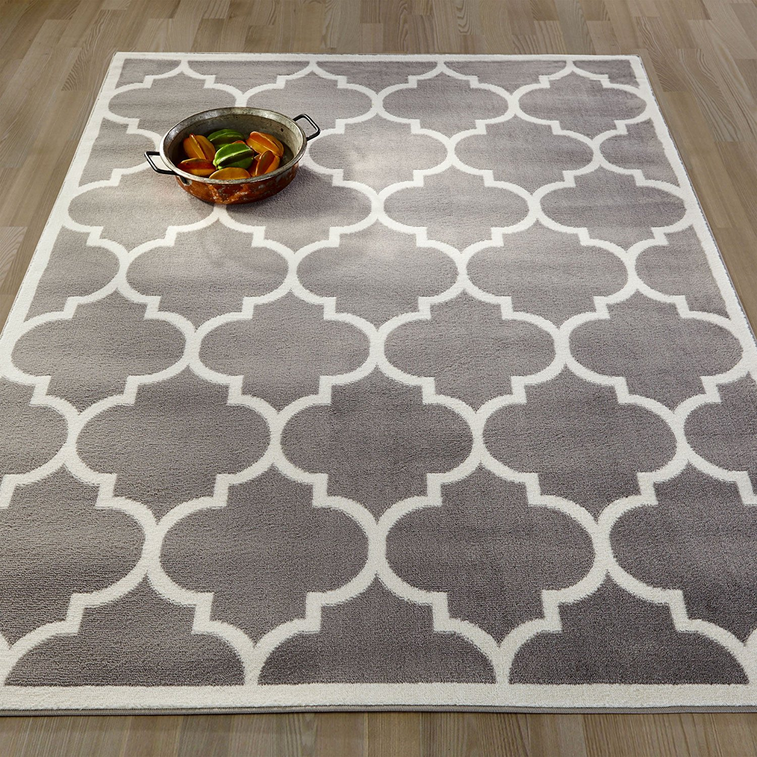"Ottomanson Paterson Collection Grey Contemporary Moroccan Trellis Design Lattice Area Rug, 5'3""x7'0"""