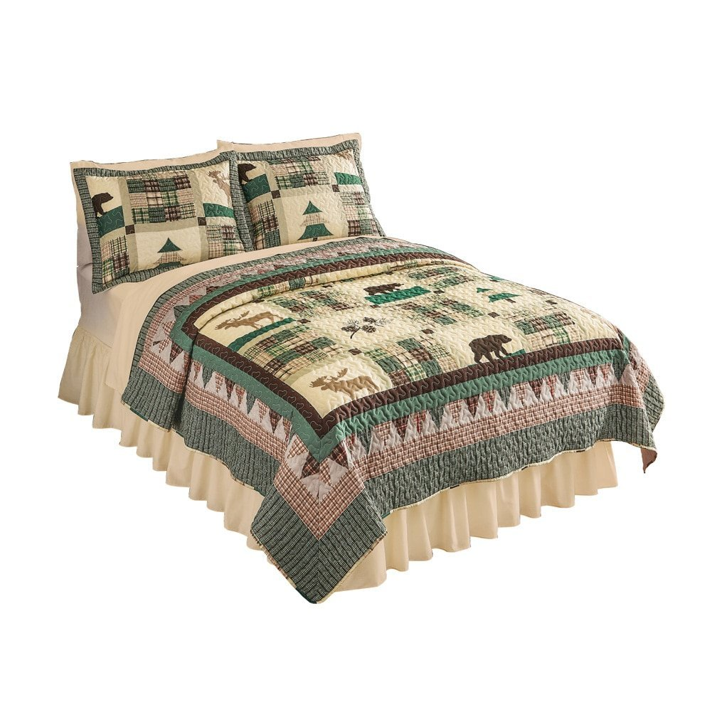 Rustic Northwood's Lodge Moose Bedroom Quilt, King