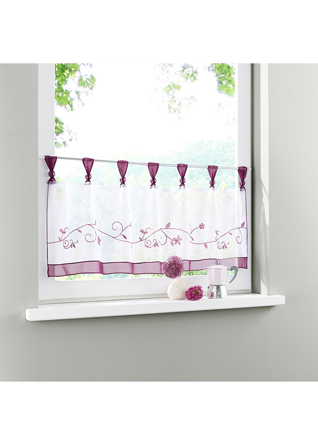 "Uphome 1pcs Cute Embroidered Floral Window Tier Curtain - Kitchen Tab Top Semi Sheer Curtain (48""W x 18""H, Purple)"