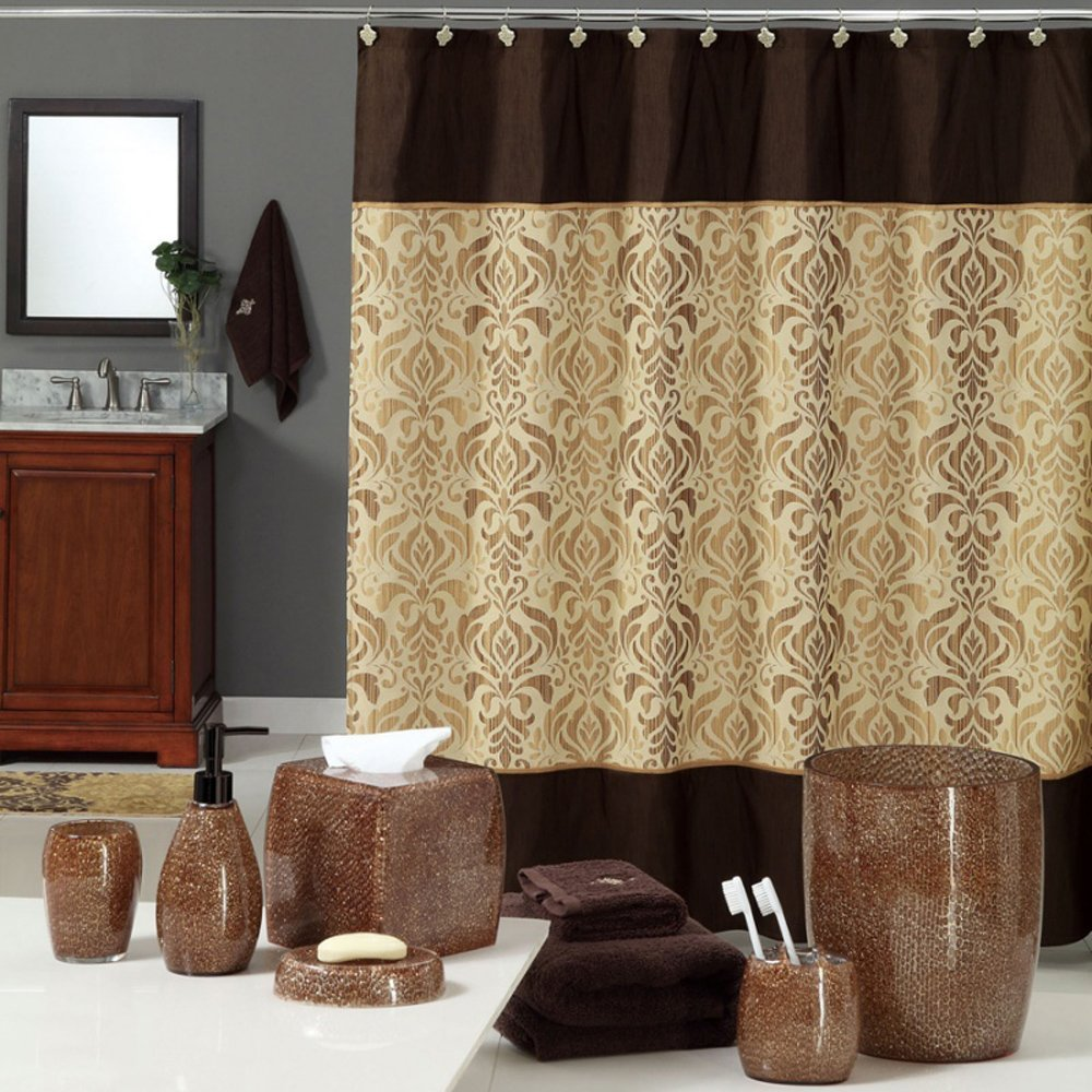 "Uphome Luxury Brown Gold Shiny Damask Bathroom Shower Curtain - Waterproof and Mildewproof Havy-duty Polyester Fabric Bathroom Curtain Ideas (72""W x 78""H)"