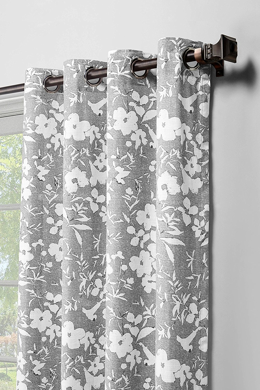Window Elements Florabotanica Printed Cotton Extra Wide 104 x 84 in. Grommet Curtain Panel Pair, Grey