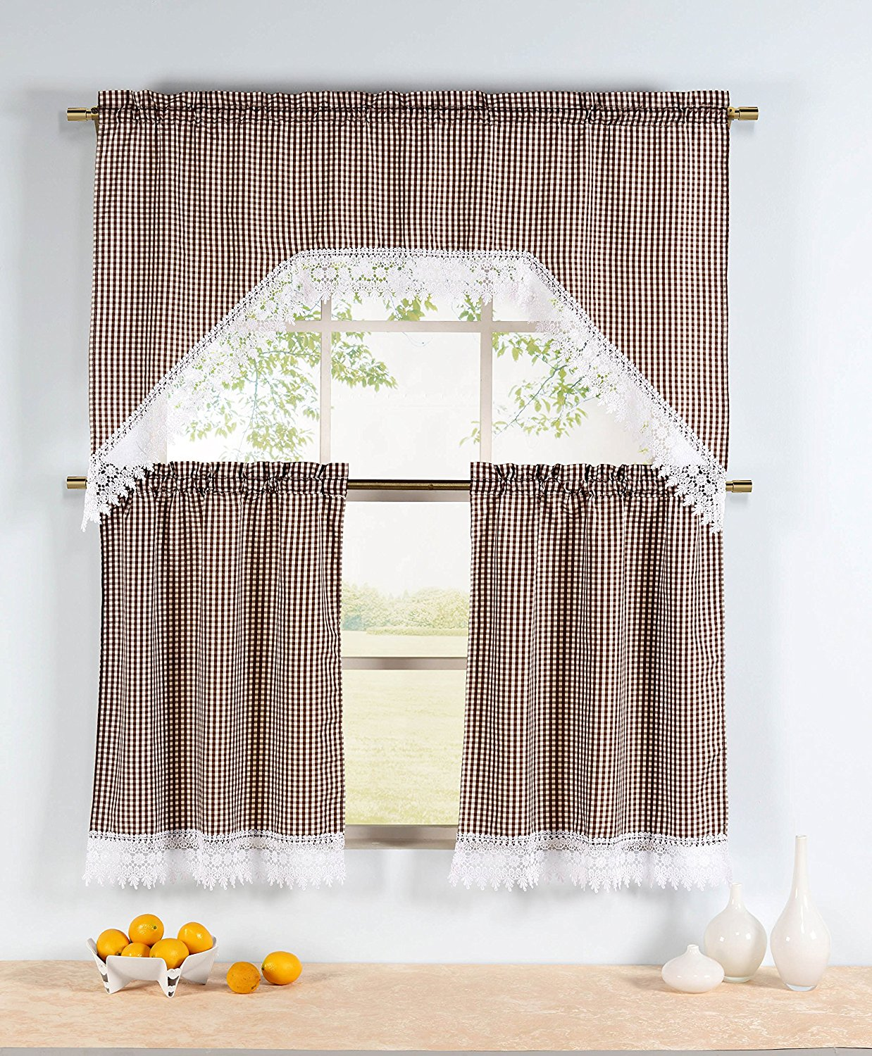 Window Elements Gingham 3-Piece Kitchen Tier and Valance 60 x 72 Set, Chocolate