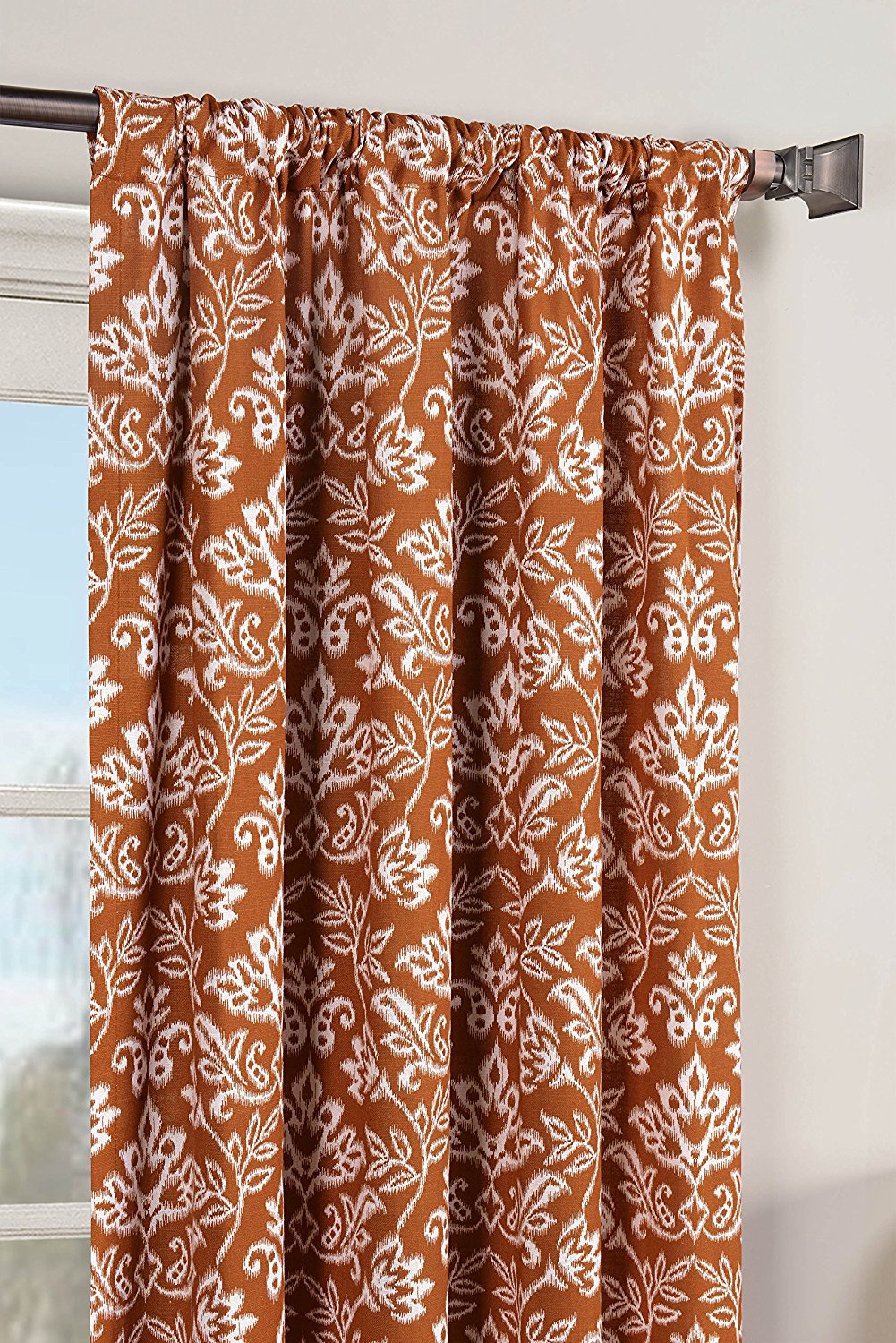 Window Elements Valencia Printed Cotton Extra Wide 104 x 84 in. Rod Pocket Curtain Panel Pair, Rust