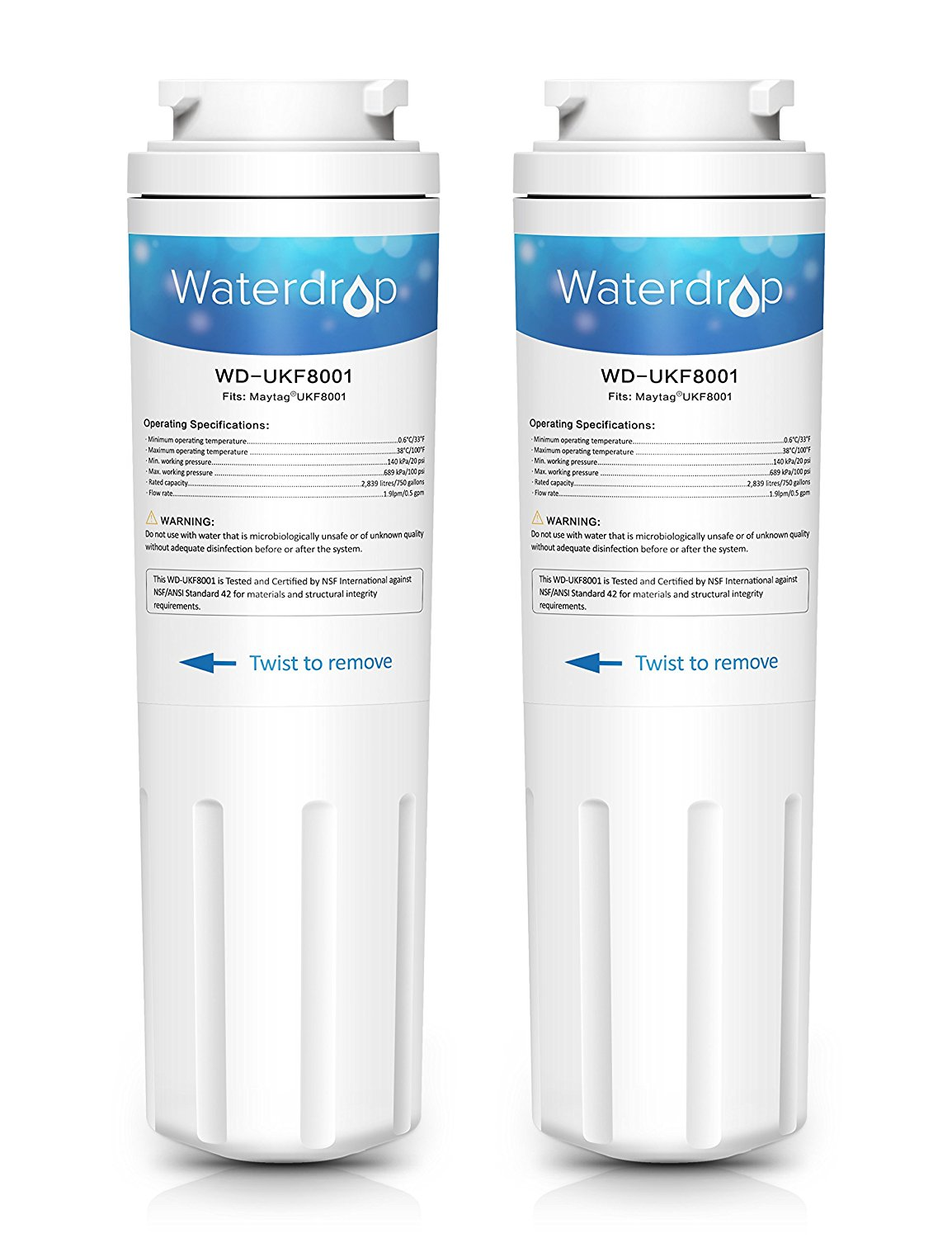 2 Pack Waterdrop UKF8001 Replacement for PUR, Jenn-Air, Maytag UKF8001, UKF8001AXX, UKF8001P, EDR4RXD1, Whirlpool 4396395, Puriclean II, 469006 Refrigerator Water Filter