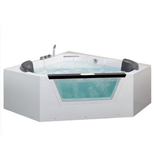 Ariel AM156JDTSZ Bath Whirlpool Tub, 2 Person, Pentagon Corner, White