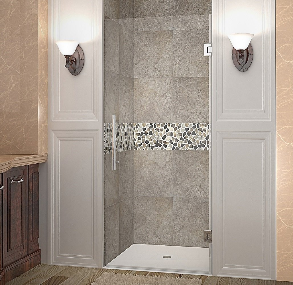 "Aston Cascadia Completely Frameless Hinged Shower Door, 36"" x 72"", Stainless Steel"