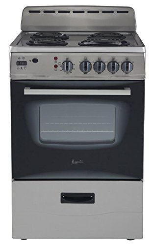 "Avanti ER24P3SG 24"" Freestanding Electric Range with Deluxe See-Thru Glass Oven Door in Stainless Steel"