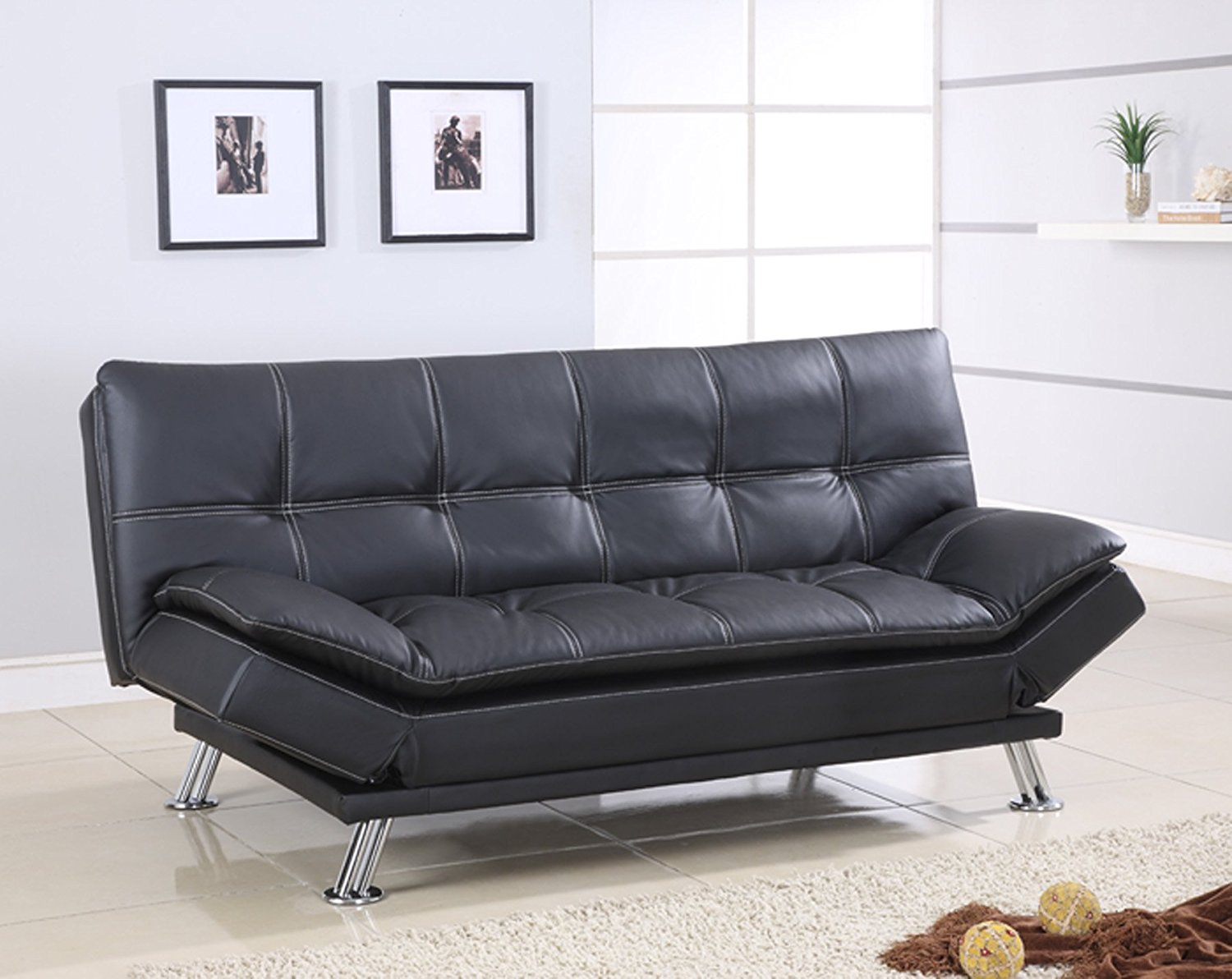 Best Quality Furniture S298 Sofa Bed Modern Black Faux Leather