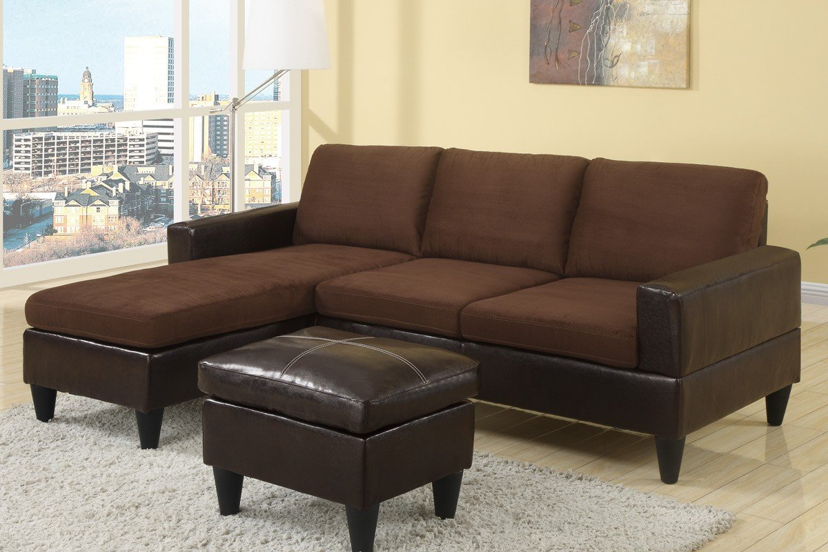 Chocolate Brown Microfiber Small Sectional Sofa with Reversible Chaise, Ottoman