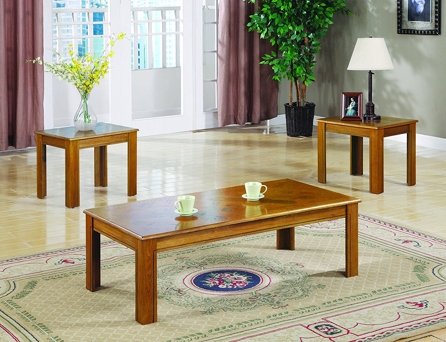 Coaster 3-Piece Occasional Table Set, Oak