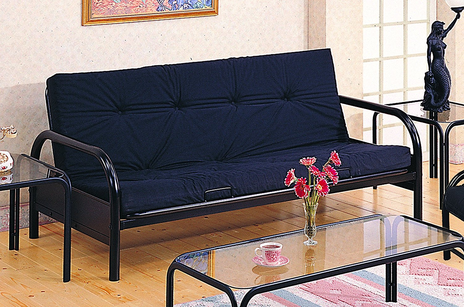Coaster Modern Futon Sofa/Couch Frame, Black Metal