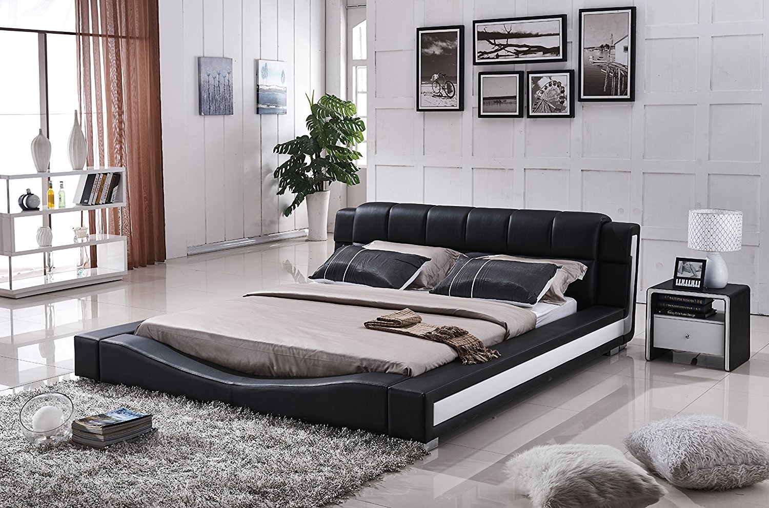 Container Furniture Direct Liam Collection Contemporary 2 Tone Faux Leather Upholstered Platform Bed with Padded Headboard, Black/White