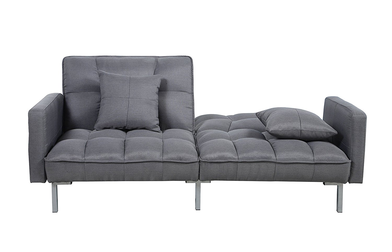 Divano Roma Furniture Collection - Modern Plush Tufted Linen Fabric Splitback Living Room Sleeper Futon (Dark Grey)