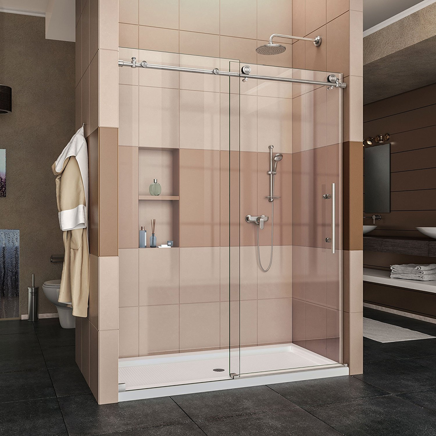 "DreamLine Enigma-X 56-60 in. Width, Frameless Sliding Shower Door, 3/8"" Glass, Brushed Stainless Steel"